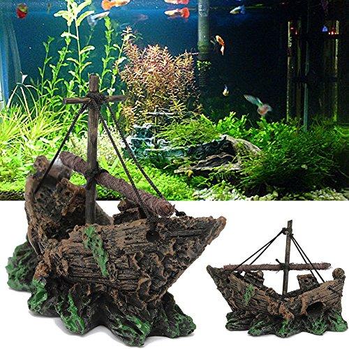 Milopon Aquarium Dekoration Angeln Schiff Aqua Ornaments Persönlichkeit Harz Landschaftsbau Harz Zubehör Aquarium Ornaments