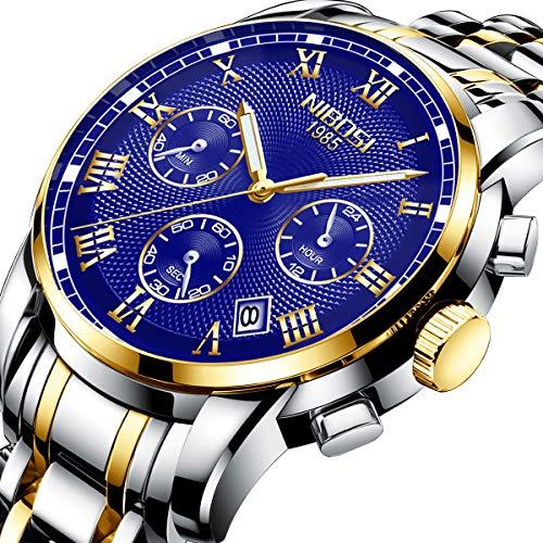 NIBOSI Herren Uhr Chronograph Quartz mit Edelstahl Armband 2302 -
