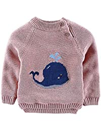08cfa445469 Kids Baby Girl Cartoon Cetacean Knitted Pullover Newborn Round Neck Long  Sleeve Plush Sweater Toddler Child
