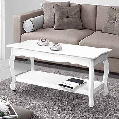Miadomodo Elegant Coffee Side Table High Gloss White Surface (87x44 cm) with Storage Shelf