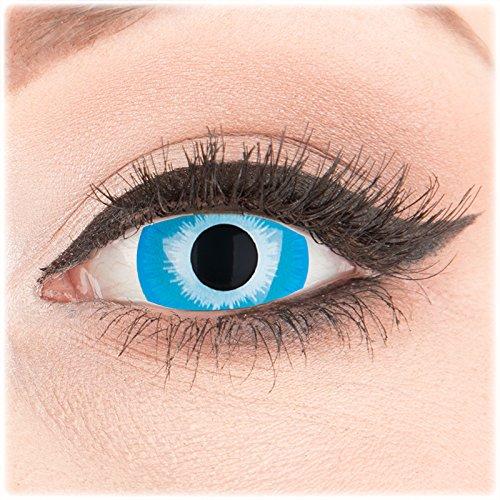 Farbige Kontaktlinsen zu Fasching Karneval Halloween 1 Paar Crazy Fun Mini Scleara blaue 'Blue Elf' 17 mm in Topqualität von 'Glamlens' ohne Stärke