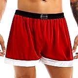 Kaerm Mens Shiny Metallic Velvet Santa Claus Costume Half Pants Christmas Holiday Loose Boxer Shorts