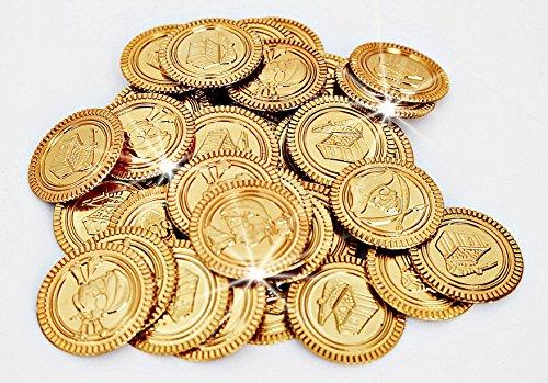 44 Stück; Piraten-Schatz - Gold-Münzen - für Kindergeburtstag - Schatzsuche - Piratenparty - Gold Münze