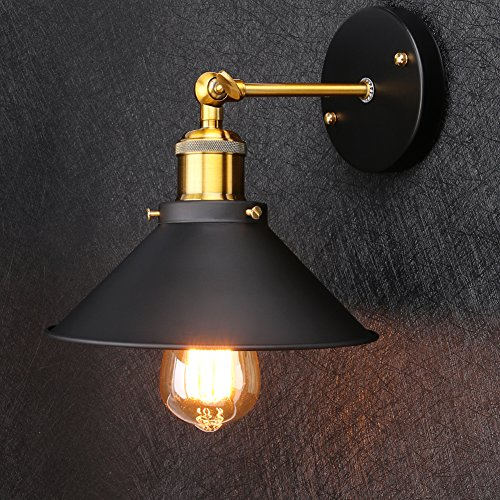 Linkax Vintage Wandleuchte Schatten Modern Industrielle Wandlampe Metall Retro Wand Lampen für Haus Bar Restaurant Kaffee Geschäft Clubdekoration (Edison Birnen nicht enthalten)
