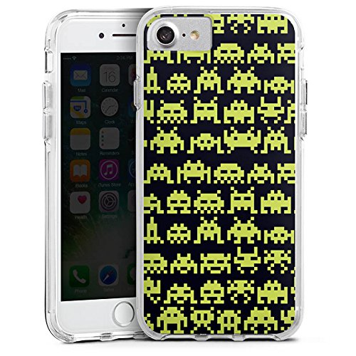 Apple iPhone 8 Bumper Hülle Bumper Case Glitzer Hülle Spaceinvaders Alien Motiv Bumper Case transparent
