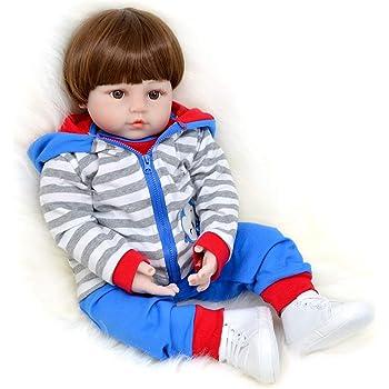 044c5782b9ead Bambola Reborn Maschio Realistico Silicone Bambino Vestito da Scimmia  Pantaloni Blu Scarpe Bianche 60 cm