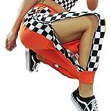 UR MAX BEAUTY Donna Harem Cerniera Arancione Plaid Harem Pants Pantaloni A Vita Alta Hip Hop Strada con Tasca,M