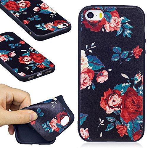 Hülle für iPhone SE 5 5S 5G, Schwarz Silikon Schutzhülle für iPhone SE 5 5S 5G Case TPU Bumper Handyhülle, Cozy Hut ® [Thin Fit] [Schock Absorption] Soft Flex Silikon Schlanke Hülle [Schwarz] Premium  rote Rosen