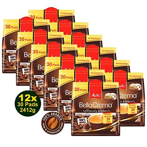 Melitta BellaCrema 12x 30 Kaffeepads á 201g, vollmundig & intensiv (2412g) - 100% Arabica