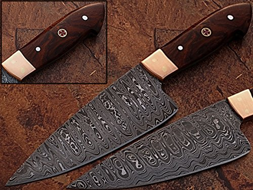 """CUSTOM MADE DAMASCUS 12"""" KITCHEN CHEF KNIFE WITH COCCO BOLO WOOD WITH COOPER BOLSTER & MOSAIC PIN HANDLE (BDM-1006)"""
