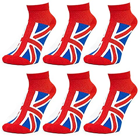 Ladies Women Union Jack Trainer Liner Sports Training Cotton Rich Athletic Socks - Red-Blue-White (Pack of 6)