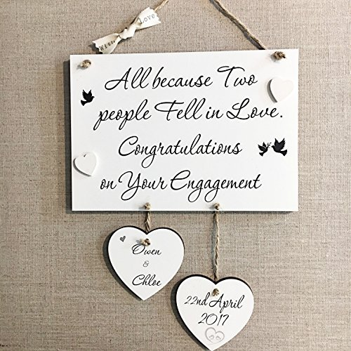 Engagement gift amazon personalised engagement wedding anniversary handmade wooden plaque sign gift w97 negle Choice Image
