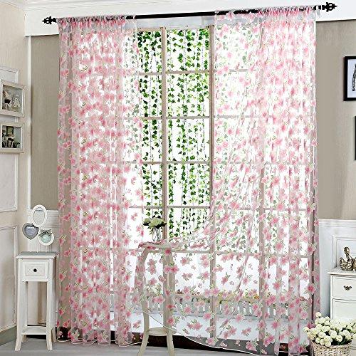 FeiliandaJJ 1PCS 200x100cm Voile Vorhang Transparent Wohnzimmer Schlafzimmer Kinderzimmer, Vorhänge mit ösen Blume Muster Atmungsaktiv Waschbar Gardinen Gardinenschals Fenstervorhang (Rosa)