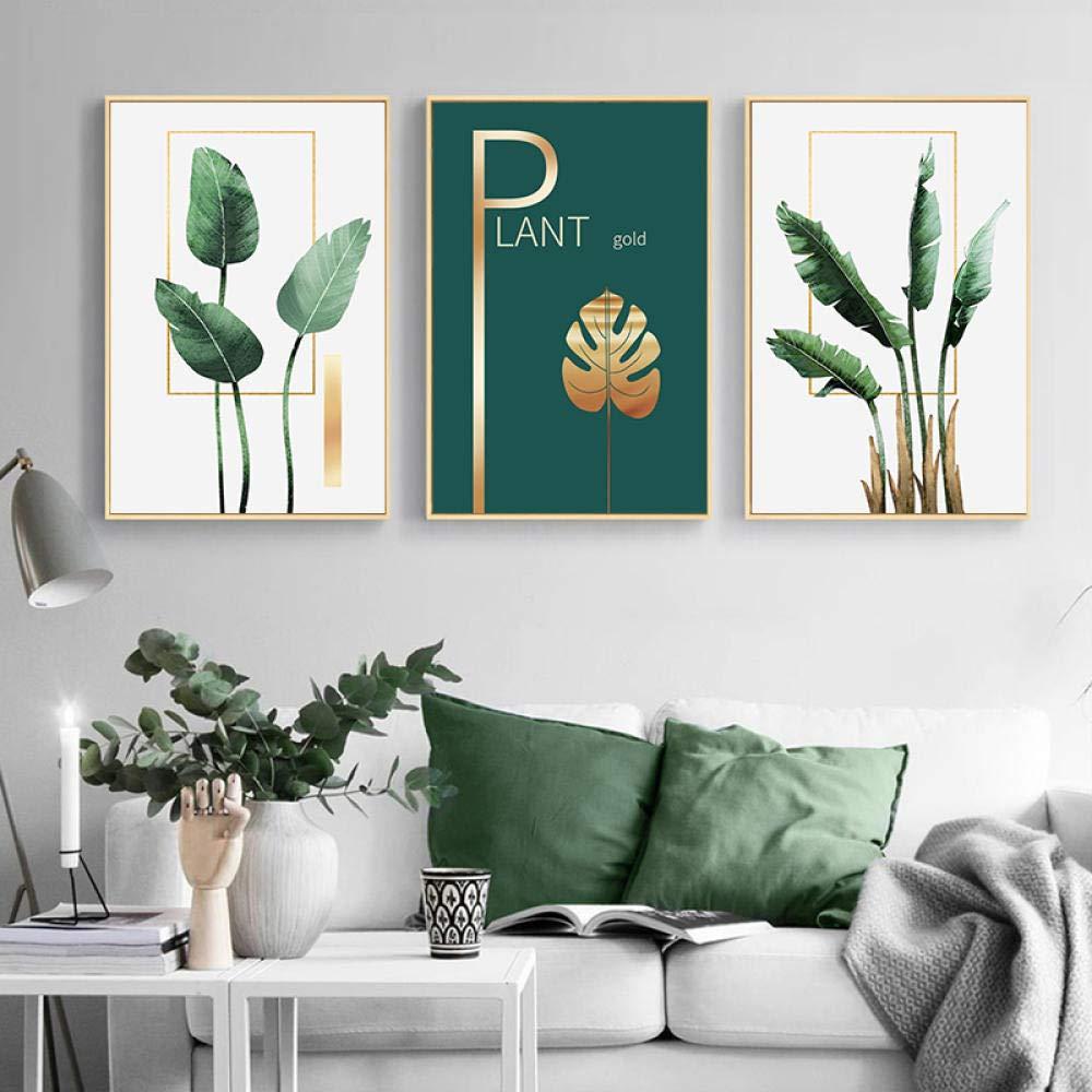 Tanyang Plante Verte Feuille D Or Mur Art Toile Peinture Nordique Affiches Et Posters Photos Murales Pour Salon Scandinave Decor A La Maison Pas De