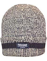 Men's Chunky Thermal Knit Fleece Lined Deluxe Turnover Style Marl Thinsulate Winter Hat