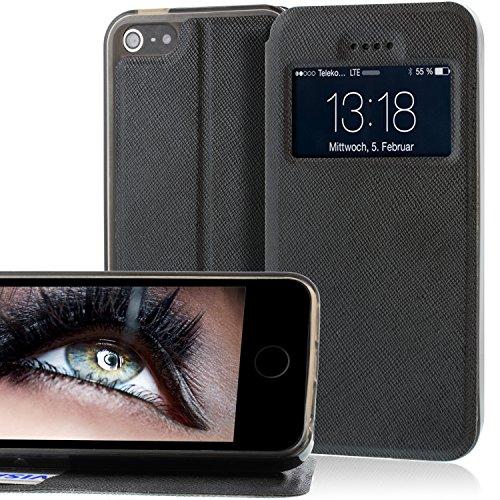 Tasche für Apple iPhone 5 / iPhone 5S / iPhone SE in Schwarz mit Öffnung & Standfunktion sowie Magnetverschluss