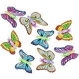 com-four 8X Aufziehspielzeug Schmetterling in Verschiedenen Farben, ca. 12 cm