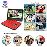 "WONNIE 10.5"" Portable DVD Player with 270° Swivel Screen Built-in Rechargeable Battery SD Card and USB, Direct Play in Formats AVI/MP3/JPEG/RMVB (10.5, Red)"