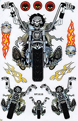 Totenkopf Ghost Biker Motorrad Feuer Skull Bones Knochen Schädel Rider Sticker Aufkleber Folie 1 Blatt 270 mm x 180 mm wetterfest (Rider Ghost Schädel)