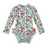 iiniim Baby Mädchen Badebekleidung Einteiler Badeanzug Blumen Druck Kinder Tankini Bikini UV-Schutz Bademode Für 0-24 Monate Hell Grün 68-80/6-12 Monate