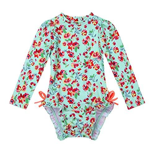 iEFiEL Baby Mädchen Badebekleidung Langarm Badeanzug Blumenmuster One Piece Tankini Bikini Bademode Sommer Anzug für Kleinkinder 0-24 Monate Hellgrün 62-68 (Herstellergröße: 70)