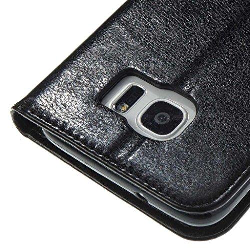 Galaxy S8 Hülle [mit Frei Hartglas Displayschutzfolie], BoxTii® Galaxy S8 Schutzhülle mit Kartenfächern, Premium Lederhülle Ledertasche Handyhülle mit Standfunktion für Samsung Galaxy S8 (#4 Schwarz) #4 Schwarz