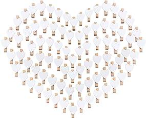100 Herz Wäscheklammer Holz mini klein Absofine Holzklammern 3,5cm Foto Handwerk Clips Deko Patchwork Klammern Dekoklammern Holzwäscheklammern Zierklammern in weiss