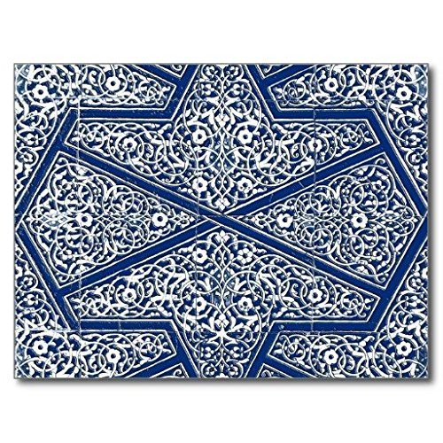 Aeykis Persian Tile Pattern Cobalt Blue and White Rubber Non-Slip Entry Way Outdoor Indoor Decor Rug Fußabtreters, 23.6-Inch x 15.7-Inch - Cobalt Blue Candy
