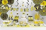 XXL Party Deko Set 1.Geburtstag Kindergeburtstag Biene gelb für 6 Personen (90 teilig) Party Geschirr Set