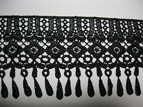 Altotux 4 Black Off-White Venice Lace Trim w/ Dangling Teardrop Fringe By Yard (Black) by Altotux White Lace Fringe