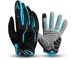 I Kua Fly Cycling Gloves Full Finger Mountain Bike Gloves Gel Padded Touchscreen MTB Gloves for Men Women