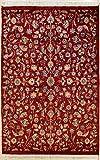 RugsTC 124 x 178 Pak Persan Tapis avec Pile de Soie et Laine - Design Floral | 100% Noué à la Main Authentique en Rouge, Beige, Couleurs Brun rougeâtre | catégorie 122 x 183...