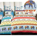 Ethnic Indian Style Duvet Cover With Elephant & Paisley Print - Trendy Bedding produced by Just Contempo - quick delivery from UK.