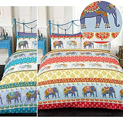 Ethnic Indian Style Duvet Cover With Elephant & Paisley Print - Trendy Bedding - low-cost UK bedding shop.