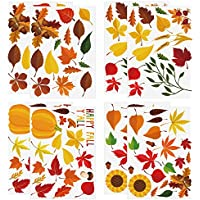 Aneco 102Pieces Thanksgiving Fall Autumn Leaves Window Clings Autumn Leaves Maple Window Sticker for Thanksgiving Decorations