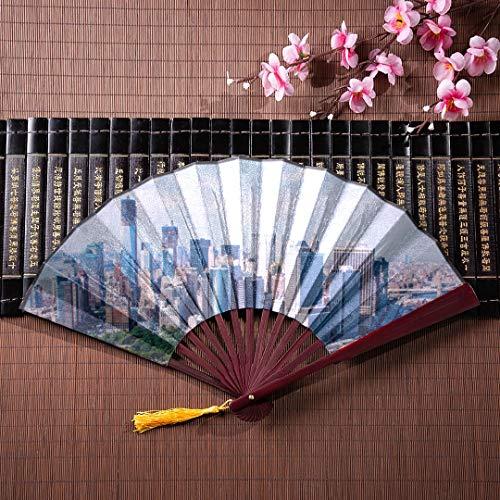 d Fan New York City Skyline über den Fluss mit Bambus Rahmen Quaste Anhänger und Stoffbeutel Chinese Fan Bamboo Womens Folding Hand Fan Papier Fan Fold ()