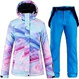 SunFlower6666 2020 Moda Donna Giacca da Sci e Pantaloni Set con Alto Antivento Impermeabile Sci Tute