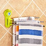 Rianz Three Arm Towel Rack 180 Degree Rotation Free Bar Cleaning Utilities Rack Hanger Super Strong Suction Cup (Assorted Color)