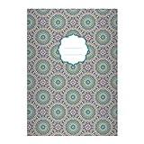 4 Edle Boho Stil DIN A4 Schulhefte, Rechenhefte mit ethno Kreis Muster in rosa blau Lineatur 22 (kariertes Heft)