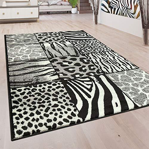 Designer Teppich Patchwork Design Tierfell Motive Modern Grau Anthrazit Weiß, Grösse:120x170 cm