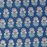 #9: Blue Sanaganeri Hand Block Printed Cotton Fabric