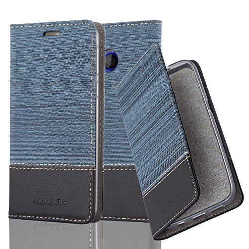 Cadorabo Hülle für HTC U Play - Hülle in DUNKEL BLAU SCHWARZ – Handyhülle mit Standfunktion und Kartenfach im Stoff Design - Case Cover Schutzhülle Etui Tasche Book