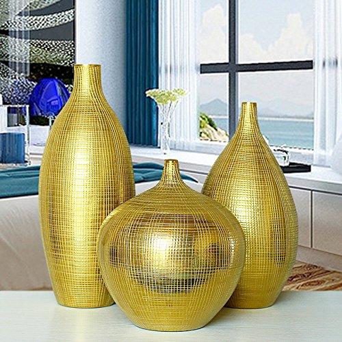 XOYOYO Gold Silver Plating Vase Home Ausstattung Tv-Schrank Schrank Dekoration Art Hotel Dekoration Kreative Soft Outfit, Eine Große Goldene Gitter Vase