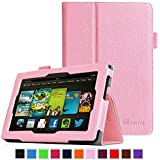 """Fintie Kindle Fire HD 7"""" (2013 Old Model) Slim Fit Folio Case with Auto Sleep / Wake Feature (will only fit Amazon Kindle Fire HD 7, Previous Generation - 3rd), Pink"""