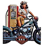 aubaho Blechschild Motorrad Tankstelle Pin-up Schild 70cm Magnettafel Antik-Stil