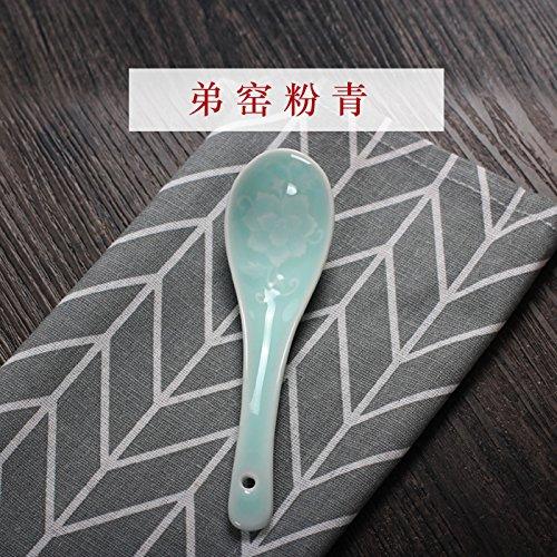 YUWANW Celadon Geschirr Geschirr Longquan Porzellan Geschirr Kreative Beilagen Mikrowelle Anwendung Der Chinesischen Reislöffel Echte, Bruder Brennofen Pulver Blau Kleine Löffel.