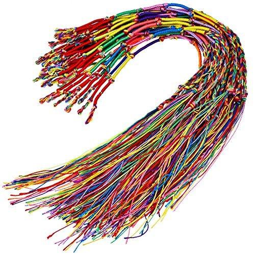 30 Pièce Bracelet Tressé Fait Main Coloré Amicale Bracelet Fil pour Poignet Cheville (Couleur Aléatoire)