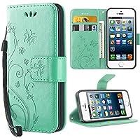 iPhone 5S Hülle, Solide Butterfly PU Ledercase Tasche iPhone SE Hülle Schutzhülle Flip Case Magnetverschluss Handyhülle im Wallet Bookstyle Standfunktion für Apple iPhone 5 5S SE - Minze
