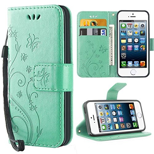 5% Polyurethan (iPhone 5S Hülle, Solide Butterfly PU Ledercase Tasche iPhone SE Hülle Schutzhülle Flip Case Magnetverschluss Handyhülle im Wallet Bookstyle Standfunktion für Apple iPhone 5 5S SE - Minze)