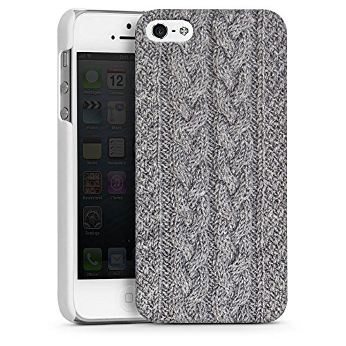 Apple iPhone 5s Housse Étui Protection Coque Look laine Tricoter Motif CasDur blanc